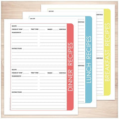 Color Category Recipe Pages BUNDLE - 3 pack - Printable Planning