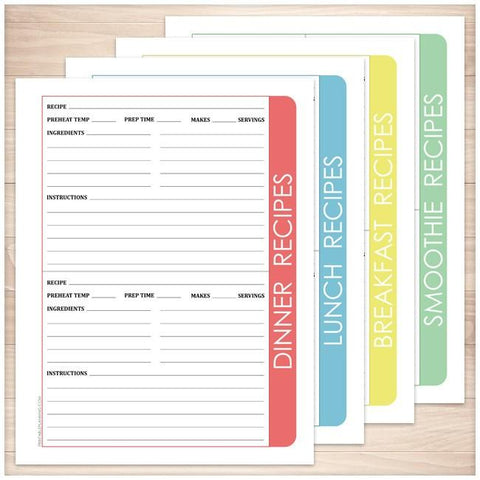 Color Category Recipe Pages BUNDLE with Smoothie Recipe Page - Printable, at Printable Planning