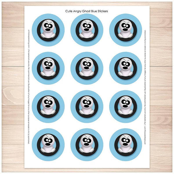 Blue Cute Angry Ghost Halloween Stickers - Printable, at Printable Planning