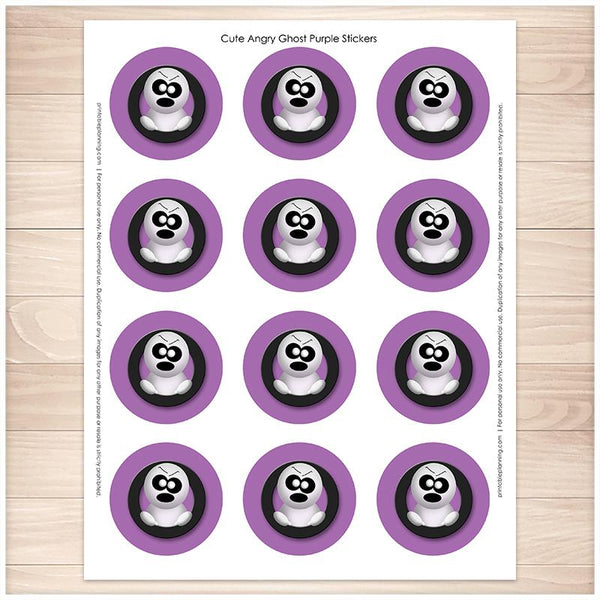 Purple Cute Angry Ghost Halloween Stickers - Printable, at Printable Planning