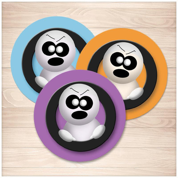 Cute Angry Ghost Halloween Stickers - Blue Orange Purple - Printable, at Printable Planning
