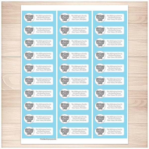 Cute Elephant Blue Background Address Labels - Printable Planning