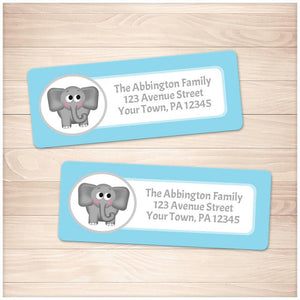 Cute Elephant Blue Background Address Labels - Printable
