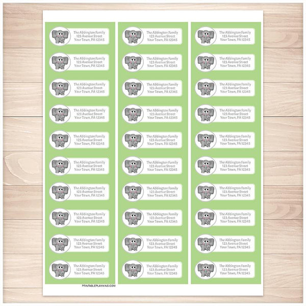 Cute Elephant Green Background Address Labels - Printable Planning