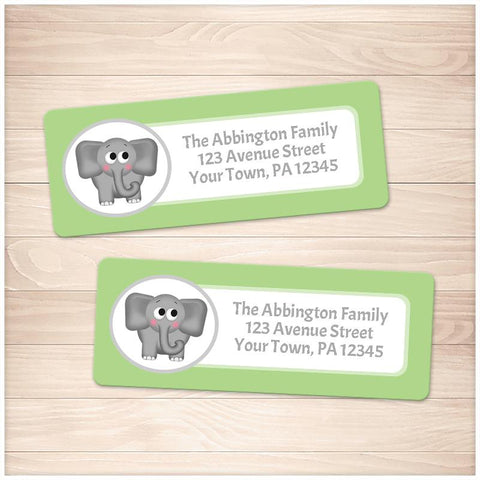 Cute Elephant Green Background Address Labels - Printable