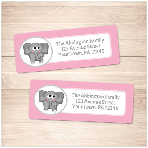 Cute Elephant Pink Background Address Labels - Printable