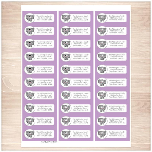 Cute Elephant Purple Background Address Labels - Printable Planning