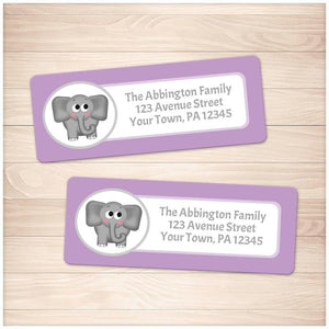 Cute Elephant Purple Background Address Labels - Printable