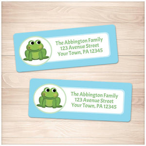 Cute Frog Blue Background Address Labels - Printable