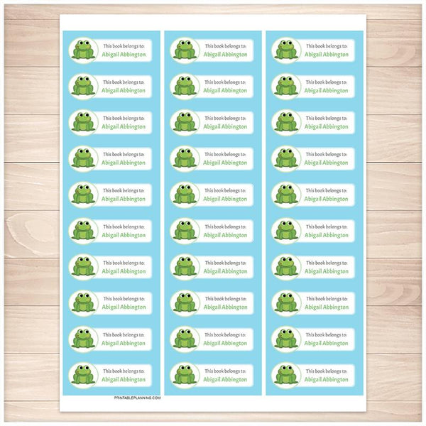 Cute Frog Blue Bookplate Labels for Name Labeling Books - Printable Planning