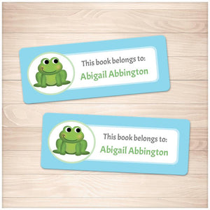 Cute Frog Blue Bookplate Labels for Name Labeling Books - Printable