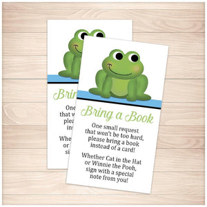 Cute Frog Blue Bring a Book Cards - Printable, at Printable Planning