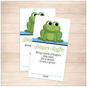 Cute Frog Blue Diaper Raffle Cards - Printable, at Printable Planning