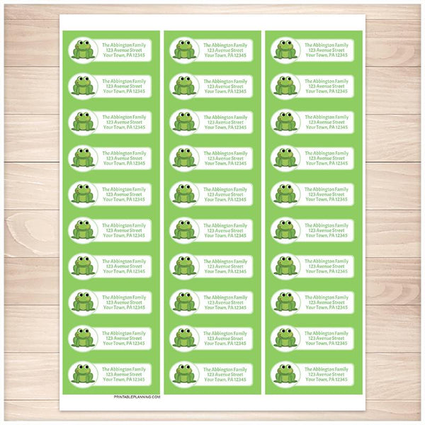 Cute Frog Green Background Address Labels - Printable Planning