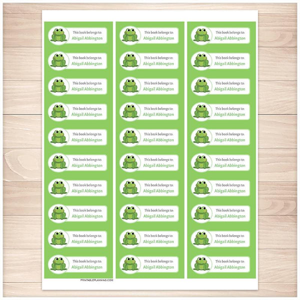 Cute Frog Green Bookplate Labels for Name Labeling Books - Printable Planning