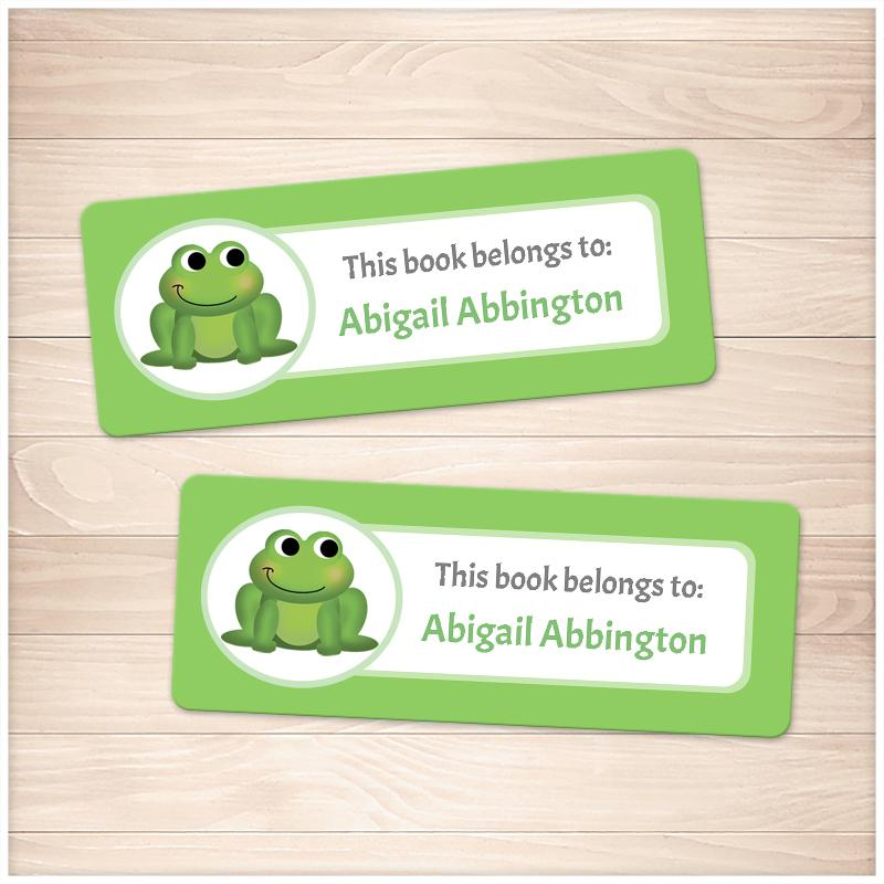 Cute Frog Green Bookplate Labels for Name Labeling Books - Printable