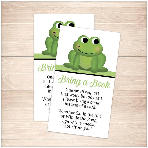 Cute Frog Green Bring a Book Cards - Printable, at Printable Planning