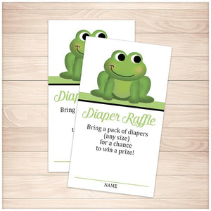 Cute Frog Green Diaper Raffle Cards - Printable, at Printable Planning