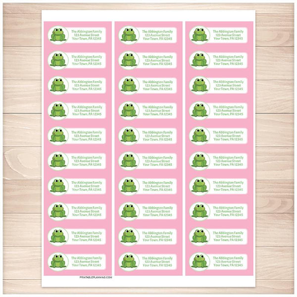 Cute Frog Pink Background Address Labels - Printable Planning