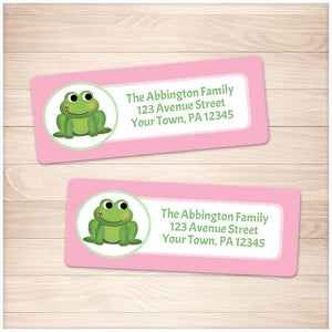 Cute Frog Pink Background Address Labels - Printable