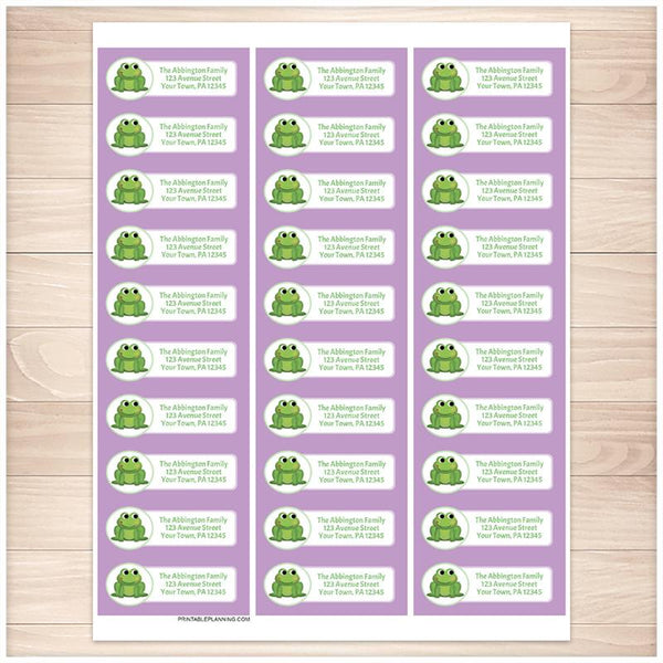 Cute Frog Purple Background Address Labels - Printable Planning
