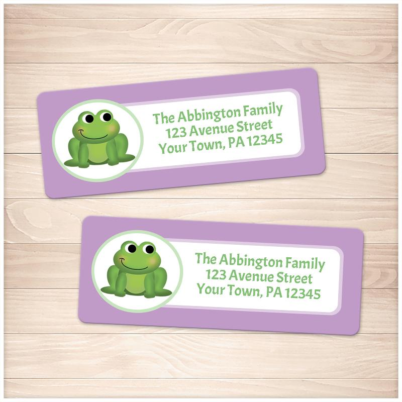 Cute Frog Purple Background Address Labels - Printable