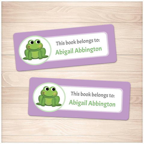 Cute Frog Purple Bookplate Labels for Name Labeling Books - Printable