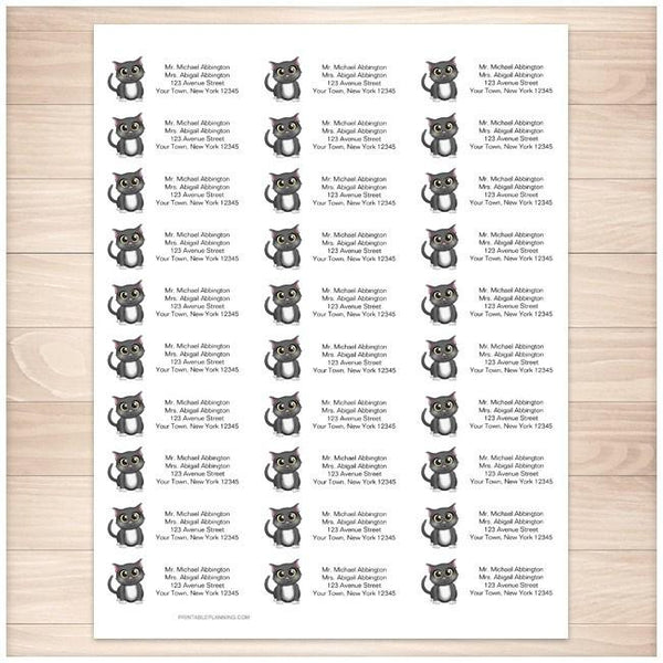 Cute Gray Cat Address Labels 30up - Printable Planning