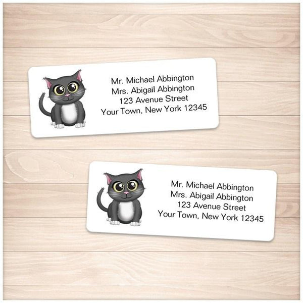 Cute Gray Cat Address Labels - Printable Planning
