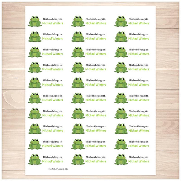 Cute Green Frog Bookplate Labels for Name Labeling Books - Printable Planning
