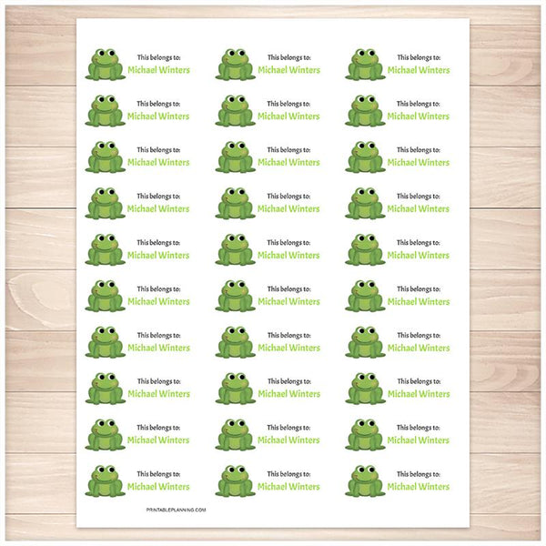 Cute Frog Name Labels for School Supplies - Printable Planning