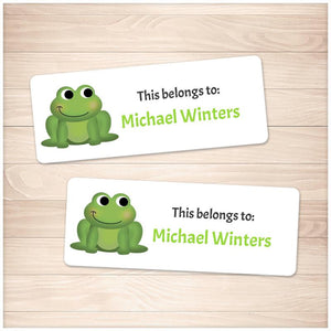 Cute Frog Name Labels for School Supplies - Printable
