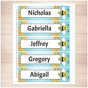 Personalized Cute Honeycomb Bee Bookmarks - Printable