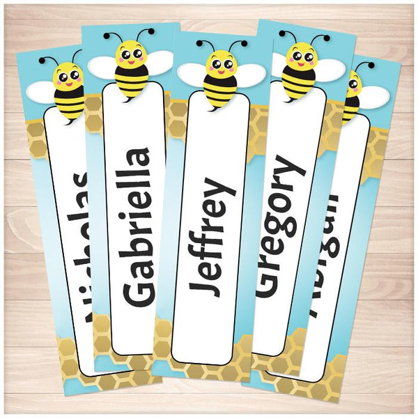 Personalized Cute Honeycomb Bee Bookmarks - Printable Planning