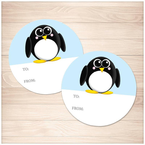 Cute Penguin Gift Tag Stickers - Printable, at Printable Planning