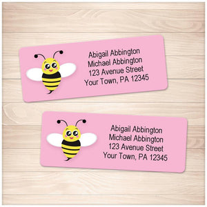 Cute Pink Bee Address Labels - Printable