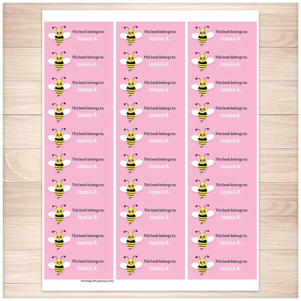 Cute Pink Bee Bookplate Labels for Name Labeling Books - Printable Planning