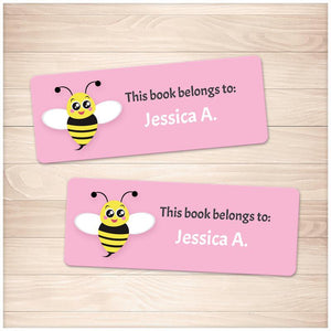 Cute Pink Bee Bookplate Labels for Name Labeling Books - Printable