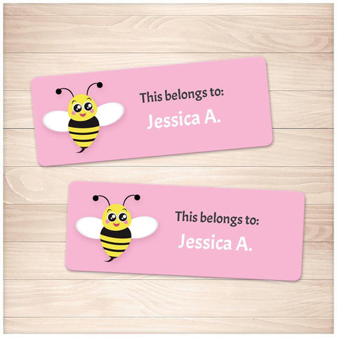 Cute Pink Bee Name Labels for School Supplies - Printable