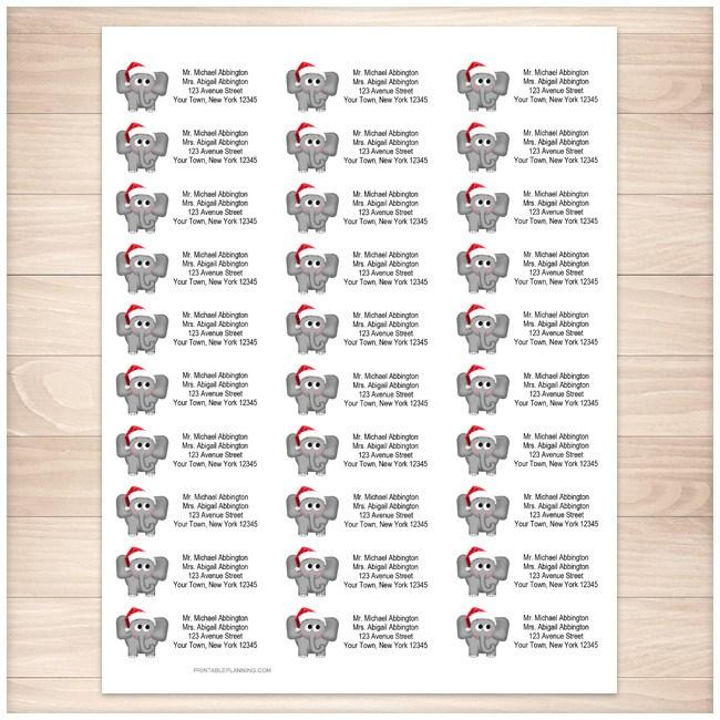 photograph about Santa Labels Printable titled Adorable Santa Hat Elephant Deal with Labels - Printable