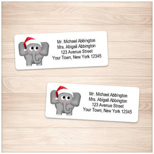 Cute Santa Hat Elephant Address Labels - Printable Planning