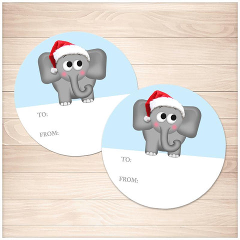 Cute Santa Hat Elephant Gift Tag Stickers - Printable, at Printable Planning