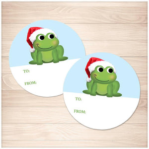 Cute Santa Hat Frog Gift Tag Stickers - Printable, at Printable Planning