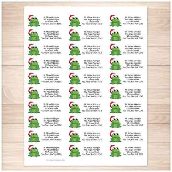Cute Santa Hat Froggy Address Labels 30up - Printable Planning