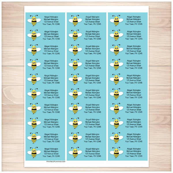 Cute Turquoise Bee Address Labels - Printable Planning