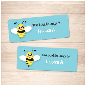 Cute Turquoise Bee Bookplate Labels for Name Labeling Books - Printable