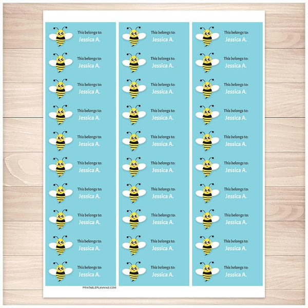 Cute Turquoise Bee Name Labels for School Supplies - Printable Planning
