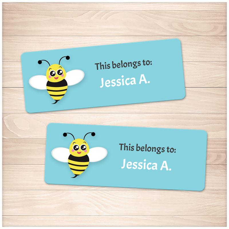 Cute Turquoise Bee Name Labels for School Supplies - Printable