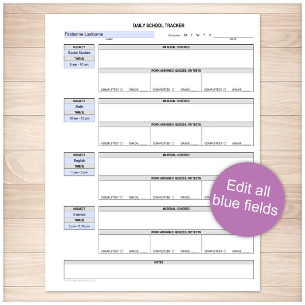 Printable Homeschooling Page, Daily School Tracker at Printable Planning