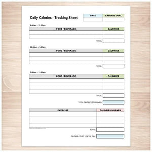 Daily Calories and Exercise Tracking Sheet - Printable, at Printable Planning
